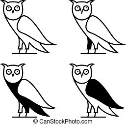 Vector illustration concept of abstract owl set