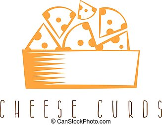 cheese curds in bowl vector design template
