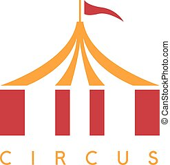 simple vector illustration with circus tent and flag