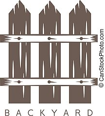 backyard vector design template with old fence