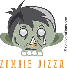 zombie cartoon face with pizza slice vector design template