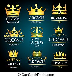 Luxury crown vector vintage monogram, logos set for boutique...