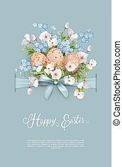 Happy Easter Card. Vector holiday poster template with...