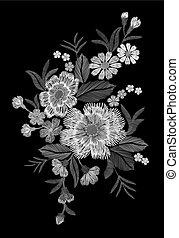 Embroidery colorful floral pattern with dog roses and forget...