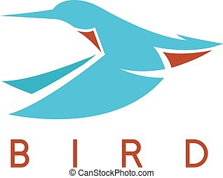 flying abstract kingfisher bird vector design template