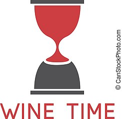 wine glass and sandglass vector design template