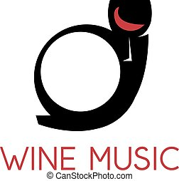 vector design template of trumpet and wine glass