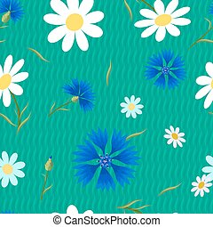 abstract flowers Cornflowers-01 - Seamless pattern with...
