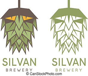 forest abstract man in a form of hop vector design template