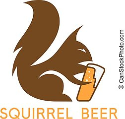 simple abstract squirrel with beer glass vector design...