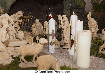 Baptismal candles in a crib, indoor