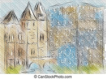 utrecht. abstract illustration of city on multicolor...