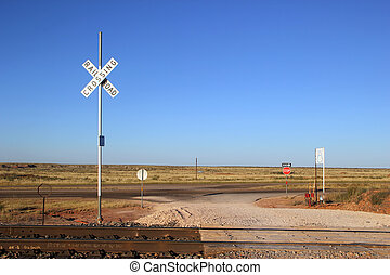 Railroad Crossing and Tracks at New Mexico USA