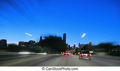 Downtown Chicago at Sunset Driving at Full Speed Camera Car...