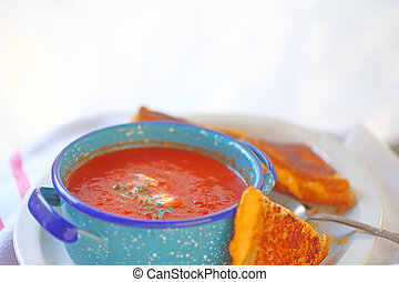 Tomato soup and sandwich with copy space - Tomato soup in a...