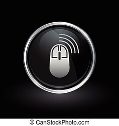 Wireless computer mouse icon inside round silver and black...