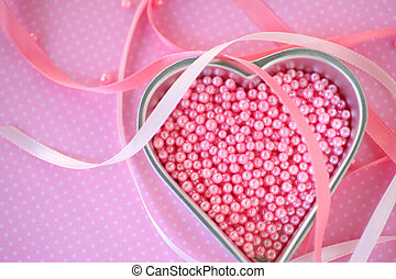 Pink bead food decorations with ribbons