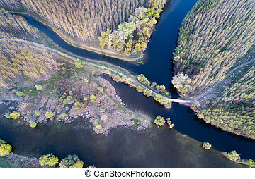 Landscape shot from drone - Aerial image of beautiful river...