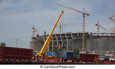 The construction of the stadium in St. Petersburg. 4K. - The...