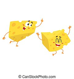 Cute and funny cheese chunk character pointing up with its finger