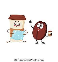 Funny coffee bean and sleepy paper cup characters, wake up -...
