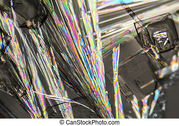 soda lye microcrystals - macro shot of growing microcrystals...
