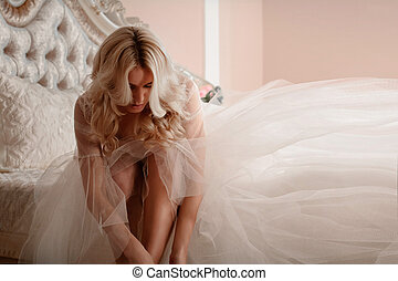 Portrait of a beautiful bride. morning bride