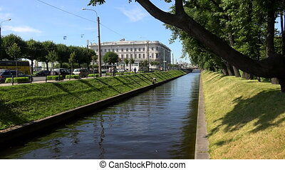 The Swan canal in St. Petersburg. 4K. - The Swan canal in...