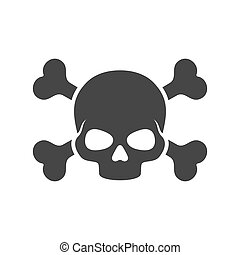 Skull and Crossbones Icon on White Background. Vector...