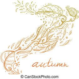 Autumn background - Vector hand-drawn autumn background