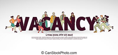 Vacancy team group business people and sign. Color vector...