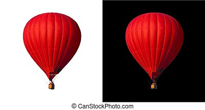 Sigle air balloon in blue sky - Red balloon isolated on...