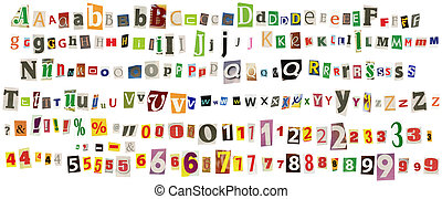 Newspaper alphabet with numbers and symbols, isolated on...