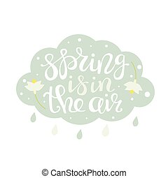 Spring is in the air lettering in a cloud vector