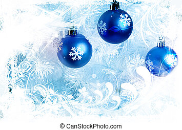 blue decorations - winter design with blue decorations