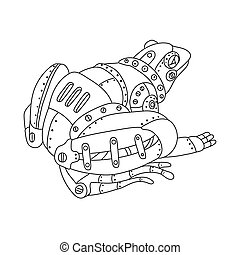 Steam punk frog coloring book vector - Steam punk style...