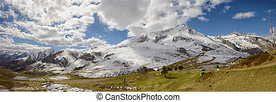 panorama of the french Pyrenees mountains, col du Soulor - a...