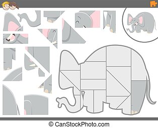 jigsaw puzzle game with elephant