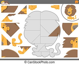 jigsaw puzzle game with lion - Cartoon Illustration of...