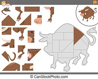 jigsaw puzzle game with bull - Cartoon Illustration of...