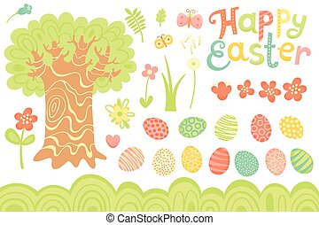 Set of Festive Decorations for Happy Easter. Congratulatory inscription, painted eggs, large tree, flowers and other elements.