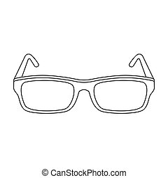 Glasses icon in outline style isolated on white background....