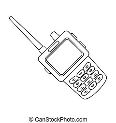 Handheld transceiver icon in outline style isolated on white...