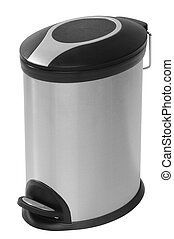 Waste can. Isolated - Trash can over white