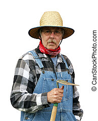 farmer portrait isolated with path - farmer holding a garden...