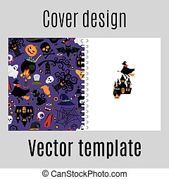 Cover design with halloween icons pattern