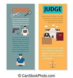 Crime and judge vertical flyers - Crime and judge concept...
