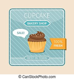 Brown cupcake with white chocolate card