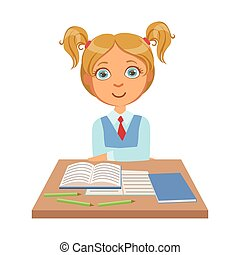 Little schoolgirl sitting at the desk with notebooks, a colorful character