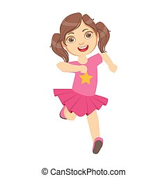 Little girl running in a pink dress, kid in a motion, front view, a colorful character